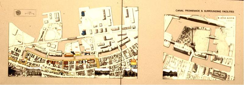 「小樽運河保存のための港湾再開発と運河再利用計画展」に出品された小樽保存の計画図