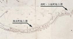 船入澗位置図(明治27年実測『小樽港図』より)